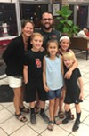 April, Ryan, Jack, Lucille, Maddie, and JR McDaniel on their first visit to Gibson's Donuts.