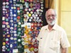Vincent Astor with his collection of LGBTQ buttons