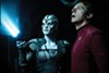 Sofia Boutella (left) as Jayla and Simon Pegg as Scotty in <i>Star Trek Beyond</i>
