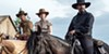 Luke Grimes (left), Haley Bennett, and Denzel Washington saddle up.