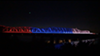The rainbow lights on the Harrahan Bridge on Saturday night
