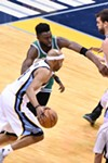Vince Carter (pictured against Boston) had 15 points off the bench against Houston.
