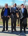Ward Archer and state Senators Lee Harris and Brian Kelsey at site of new TVA plant