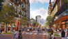 Rendering of the proposed street view to Pyramid on Overton Avenue.