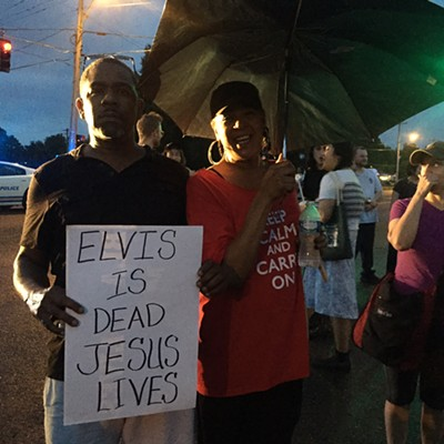 Scenes from the Protest for Black Lives Outside the Elvis Vigil