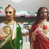 Guyliner Jesus and St. Manbun Go to Cash Saver