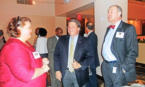 Unified Board member Mary Anne Gibson with state Senators Mark Norris and Jim Kyle at Board reception in Nashville