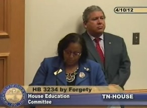 Unified School Board member Patrice Robinson testifying on HB3234