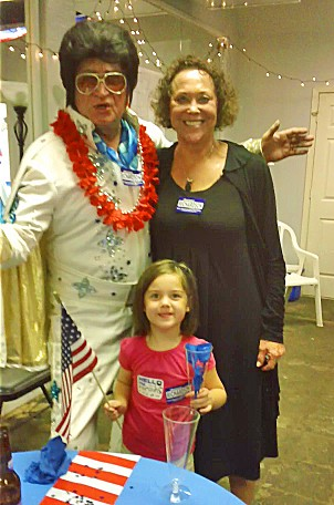 With Elvis and granddaughter Frances at a recent fundraiser