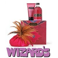 Wizard's: Raspberry Treasure Trove - A trio of romantic delights. Gift box includes three Raspberry Kiss offerings: soft Honey Dust body powder with feather applicator, warming Oil of Love, and tingling, tasty Pleasure Balm. 1999 Madison Avenue