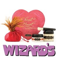 Wizard's: Strawberry Sweet Heart Box - Follow your heart with every kiss! Valentines gift set comes with rich White Chocolate Body Paint, Strawberry Crème Body Soufflé, and Strawberry Dreams Honey Dust with a feather duster. 1999 Madison Avenue
