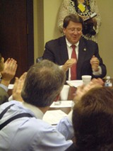 JB - Worth Clapping For -- Newly named GOP Senate majority leader Mark Norris joins in the congratulatory applause led by Memphis colleague Paul Stanley (back to camera, center), and others.