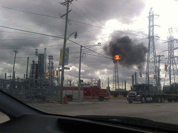 A fire broke out at the Marathon refinery during last week's environmental justice conference.