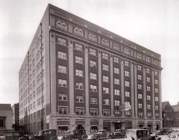 A historic photo of the historic Strathmore Hotel, which first opened in 1929. - COURTESY OF MIDTOWN DETROIT INC.