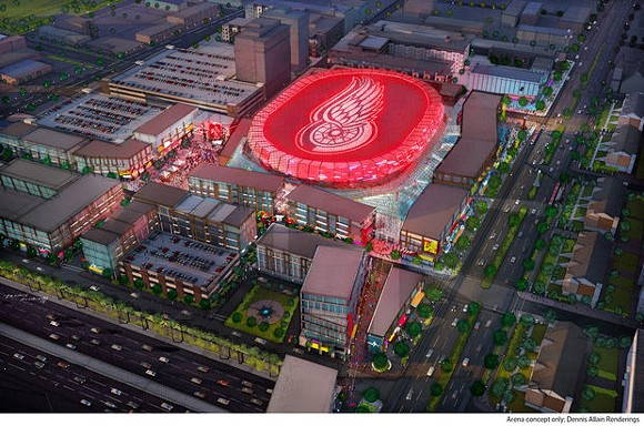 A rendering of the proposed $450 million arena in downtown Detroit. - COURTESY OF THE DISTRICT DETROIT