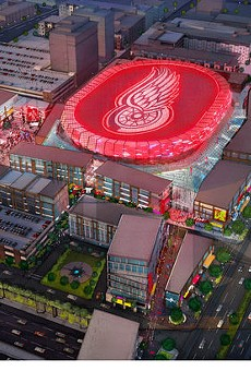 A rendering of the proposed $450 million arena in downtown Detroit.