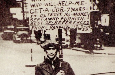"""Ah, but SEE! He still has a TELEPHONE! And evidently, he has enough money for CARDBOARD and INK! Just as I suspected, another lying hustler! Get a job, loser!"" - PHOTO OF DETROIT IN THE EARLY 1930S"