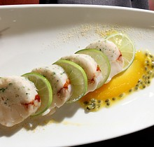 """""""Chill'n Lobster Layout"""" with lobster, shrimp, spicy passion fruit and lime from Gastronomy in Southfield."""