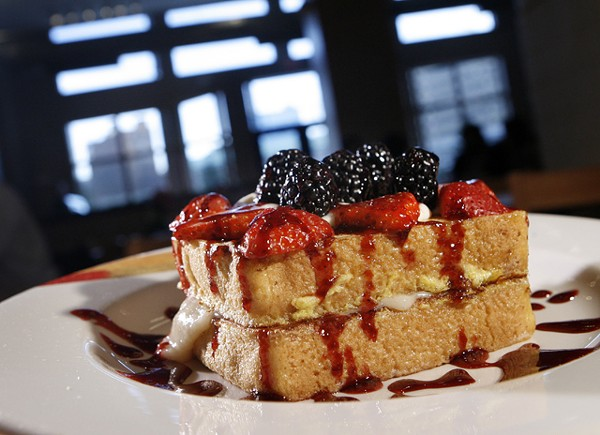 """Very Berry Stuffed French Toast"" from the Hudson Cafe in Detroit."