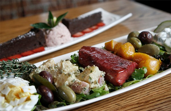"""Beet-cured salmon nicoise, front, and """"Chocolate Decadence,"""" back, from the Ravens Club in Ann Arbor. - MT PHOTO: ROB WIDDIS"""
