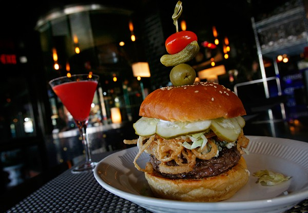 Blue cheese burger and the Alexa (vodka, lemonade, fresh raspberries, watermelon liqueur and grenadine). - ROB WIDDIS