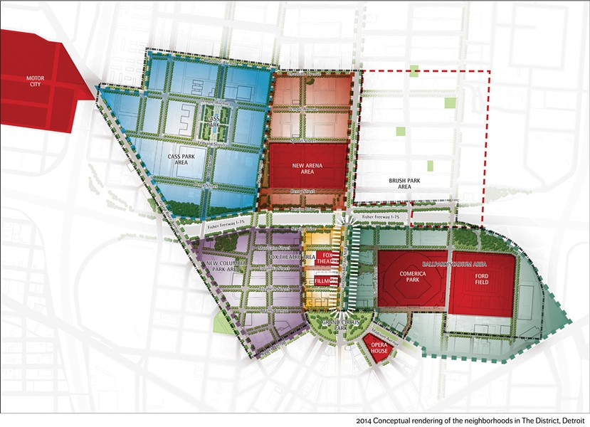 A map laying out the proposed 45-acre district in downtown Detroit anchored by a new Detroit Red Wings arena. - COURTESY OF OLYMPIA DEVELOPMENT OF MICHIGAN