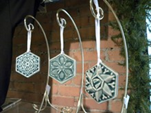 Collectible snowflake ornaments from Pewabic.