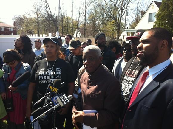 Ron Scott, spokesman for the Detroit Coalition Against Police Brutality, speaks at a press conference on the death of Terrance Kellom on Thursday, April 28, 2015. - RYAN FELTON/MT