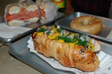 "THE ""CHICAGO BAGEL DOG,"" FOREGROUND, FROM DETROIT INSTITUTE OF BAGELS."