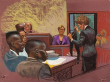 Courtroom sketch of the Central Park Five trial