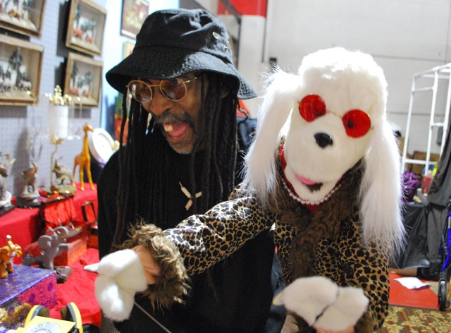 Darrell Banks lip-syncing with his puppet Diamond inside his booth. - DETROITBLOGGER JOHN