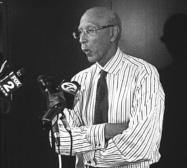 Dave Bing dodges a question from News Hits at last week's press conference.