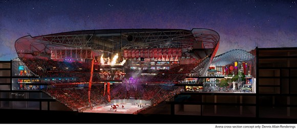 New Detroit Red Wings arena cross-section rendering. - VIA OLYMPIA DEVELOPMENT OF MICHIGAN