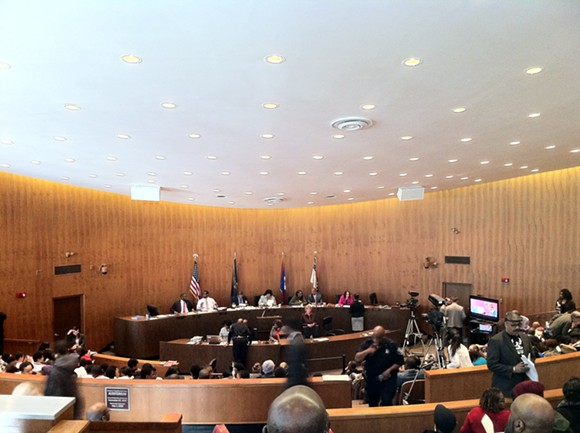 Detroit City Council meeting on March 24, 2015 was moved to the Erma Henderson Auditorium at the Coleman A. Young Municipal Center after a large crowd turned out. - RYAN FELTON/MT