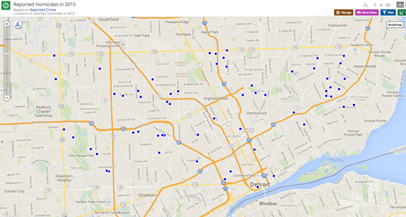 A map of reported homicides in Detroit this year. - SCREENSHOT VIA DATA.DETROITMI.GOV