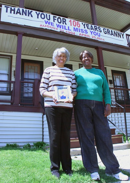 Dorothy Ziegler (left) and Betty Seay with a photo of Mama. - PHOTO: DETROITBLOGGER JOHN