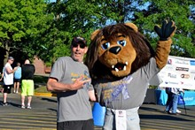 Dr. Michael Lutz (president of MIU Men's Health Foundation) with Roary