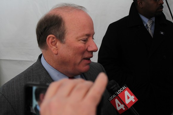 Detroit Mayor Mike Duggan speaks with reporters after a press conference on Jan. 15, 2015. - RYAN FELTON/METRO TIMES