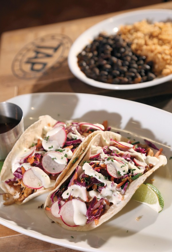 Fish tacos from Tap, the new sports bar at MGM Grand Detroit Casino in downtown Detroit.