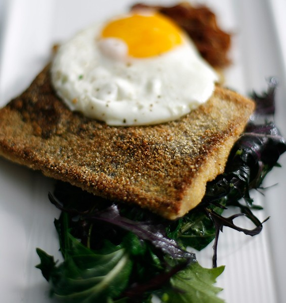 Fox River Breakfast: Sauteed rainbow trout, pork confit hash, and a sunny-side-up egg. - ROB WIDDIS