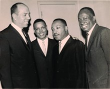 From Left: Mich. Supreme Court Justice Otis M. Smith, Damon J. Keith, Dr. Martin Luther King Jr. and Michigan Secretary of State Richard Austin, 1965.  (WSU Press)