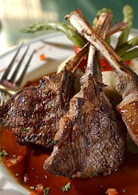 Grilled lamb chops, deep marinated with fresh herbs and spices, served with garlic mashed potatoes from Boodles in Madison Heights. - METRO TIMES PHOTO/ROB WIDDIS