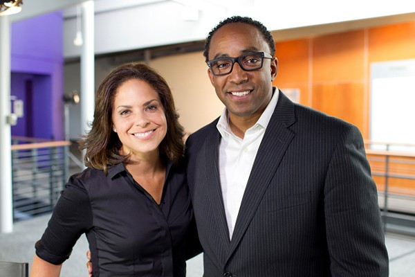 Hajj Flemings (right) preens with CNN's Soledad O'Brien.