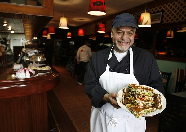 Harmonie Garden owner Taher Jaber shows off his Arabi Falafel. - MT PHOTO: ROB WIDDIS