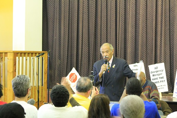 John Conyers speaks at a town hall meeting Sunday, March 2 regarding an alternative proposal to Detroit Emergency Manager Kevyn Orr's required bankruptcy-exit plan. - PHOTO BY RYAN FELTON.