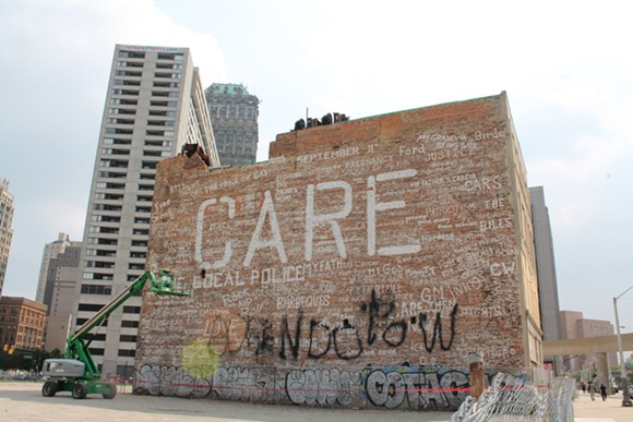 """A side of the structure at 139 Bagley was used by Kid Rock for the music video to his song """"Care."""" - RYAN FELTON"""