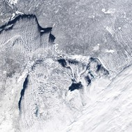 Lake Erie is almost completely frozen over