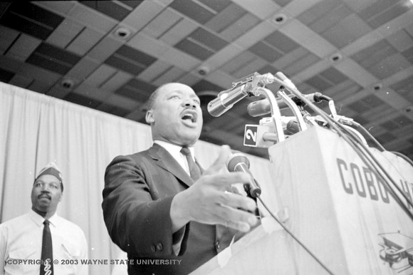 Martin Luther King, Jr. speaking at Cobo Hall in June 1963. - COURTESY OF VIRTUAL MOTOR CITY