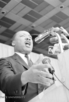 Martin Luther King, Jr. speaking at Cobo Hall in June 1963.
