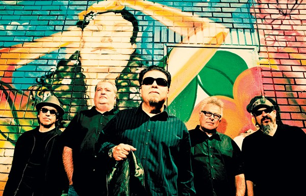 Louie Pérez (far left) and his Los Lobos bandmates. - DREW REYNOLDS